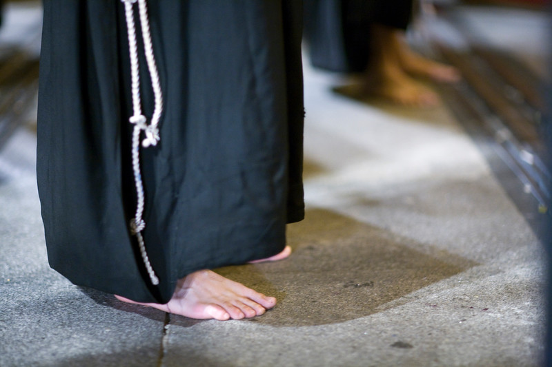 A penitent's bare foot, Holy Week 2008, Seville, Spain