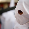 Closeup of a hooded penitent, Palm Sunday, Seville, Spain