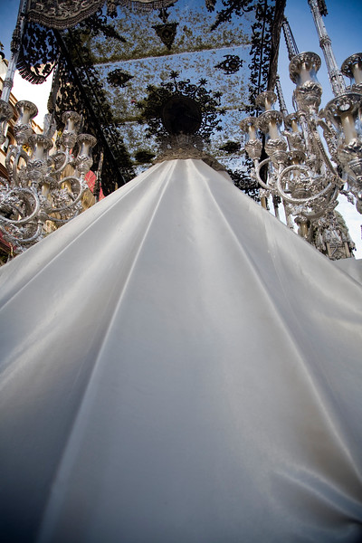 Rear view of a float with the Virgin Mary, Palm Sunday, Seville, Spain, 2008