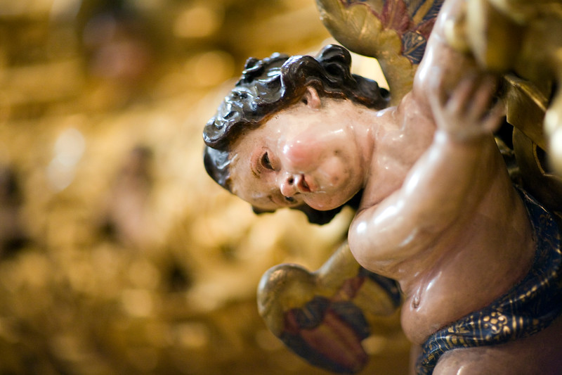 Carved angel from the float of Jesus del Gran Poder, Seville, Spain