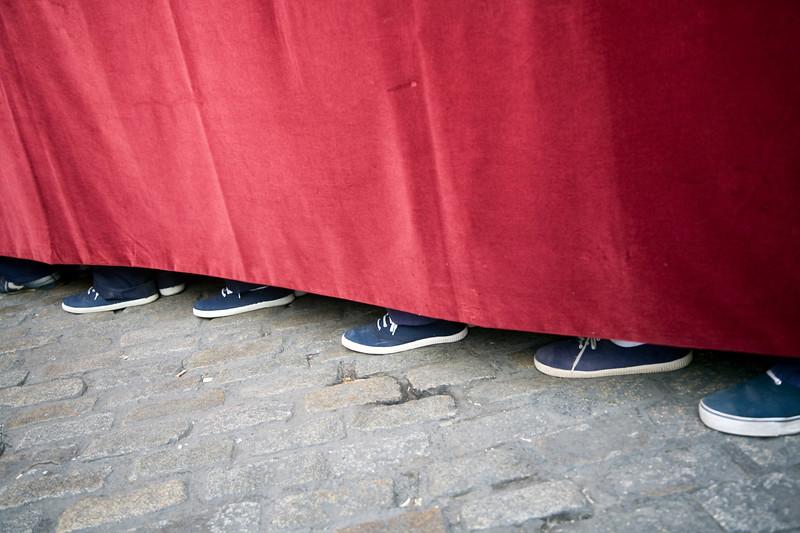 Feet of float bearers, Holy Week, Seville, Spain