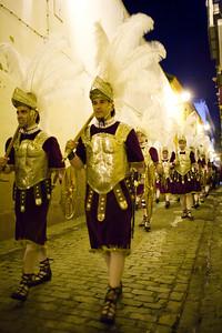 Roman soldiers, called Armaos, of La Macarena brotherhood, Good Friday dawn, Seville, Spain