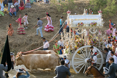 The cart with the simpecado drawn by oxen