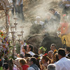 Pilgrims walking behind the Virgin banner or simpecado