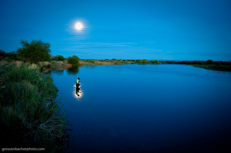 Daniel Ortega on the Rio Limay Medio at moonrise