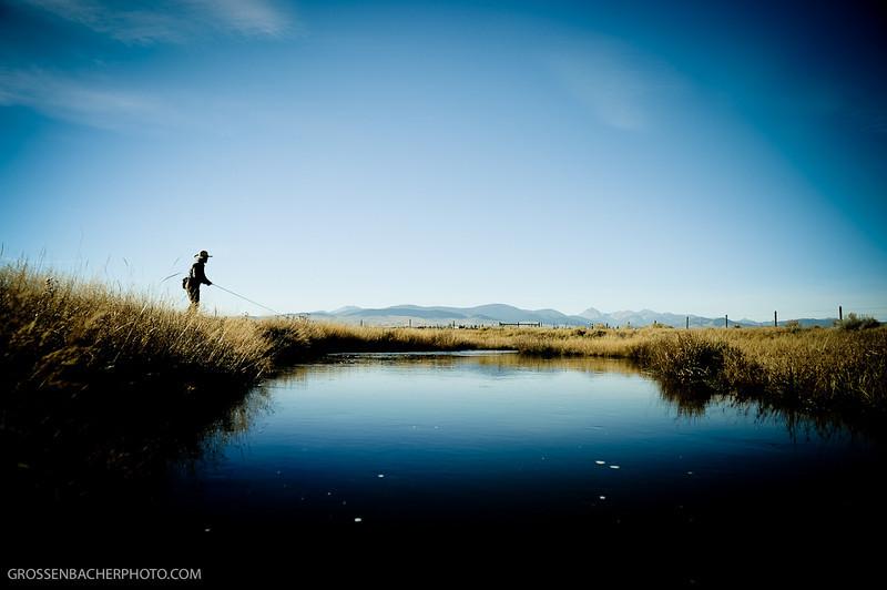 """Dan """"Rooster"""" Leavens on McCoy Spring Creek, Montana."""