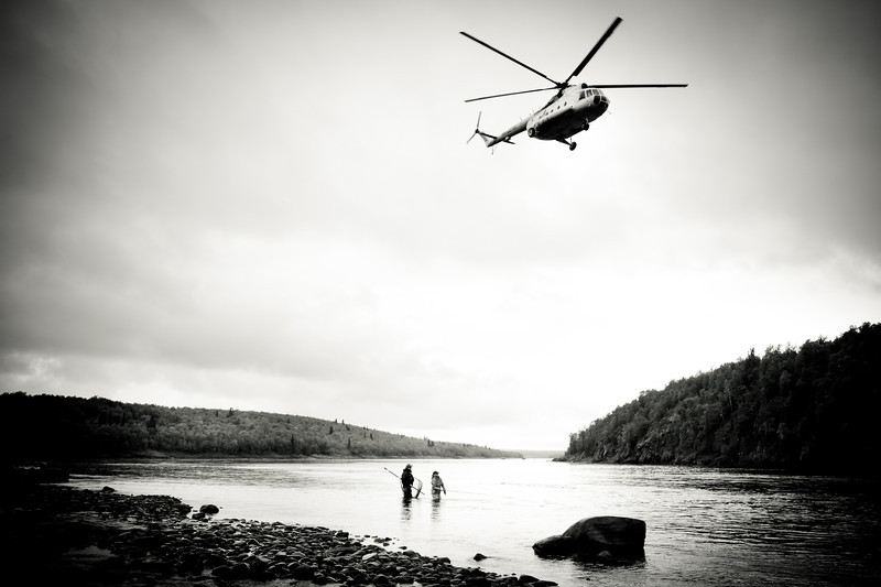 Heid Andrews and Tomas Sordelli fishing the Home Pool.  Ponoi River, Russia
