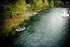 "Dan ""Rooster"" Leavens and Jimmy Kloote fishing the Sol Duc River near Forks, Washington."