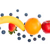Banana, Berries, Orange and Apple on white