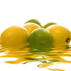 Limes and Lemons in water with Reflection