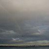 Seattle Cityscape with Rainbow & Gull, from Bainbridge Island Ferry