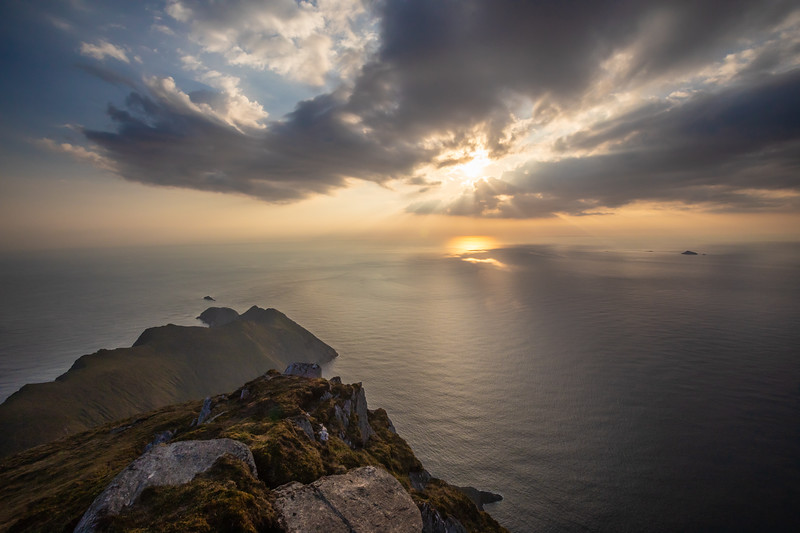 Inspirational Sunset over the Open Atlantic from the Cliffs of Croaghaun, Achill Island, County Mayo, Ireland