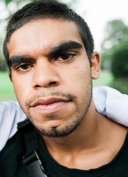 Young Aboriginal Man Looking at Camera