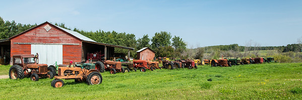 Row of Old Tractors