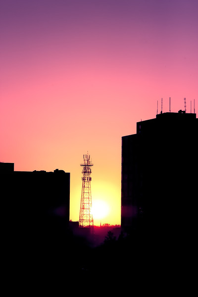 Sunset on Transmission Tower