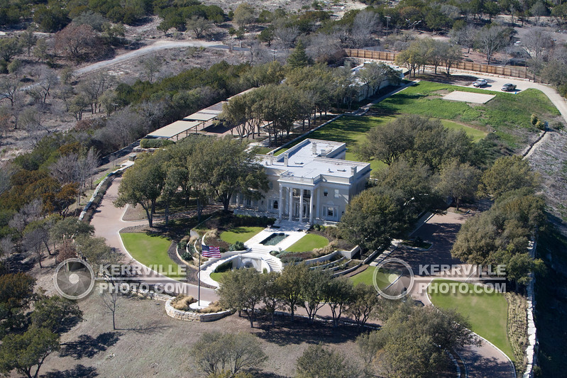 A.C. Schreiner Mansion. LD Brinkman Mansion. Kerrville, Texas. Aerial.