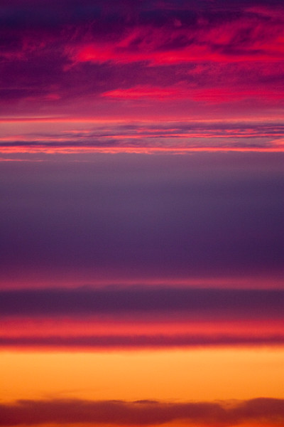 Skyscape with red and purble clouds at sunset, Doñana marshland area, town of Aznalcazar, province of Seville, autonomous community of Andalusia, southwestern Spain