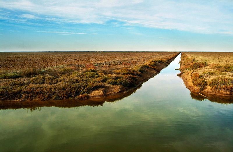 Irrigation canal near Donana national park, Spain