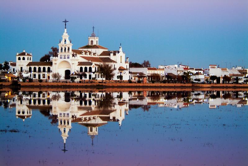 El Rocio sanctuary at dusk, Almonte, Huelva, Spain