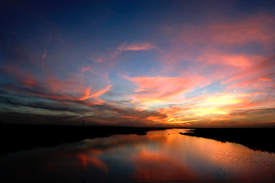 Dramatic sunset at Doñana national park, Andalusia, Spain