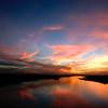 Dramatic sunset at Doñana national park, Andalusia, Spain