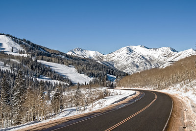 Scenic drive through the snowy mountains of Utah