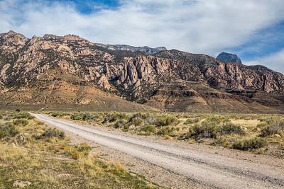 Pink granite cliffs below Notch Peak in Utah's West Desert.