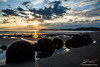 Sunrise over the Moeraki Beach boulders