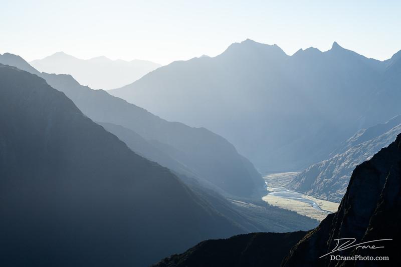 Hazy Valley in Mt Aspiring National Park in early morning light