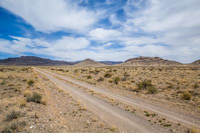 Double track dirt road through the Utah West Desert.