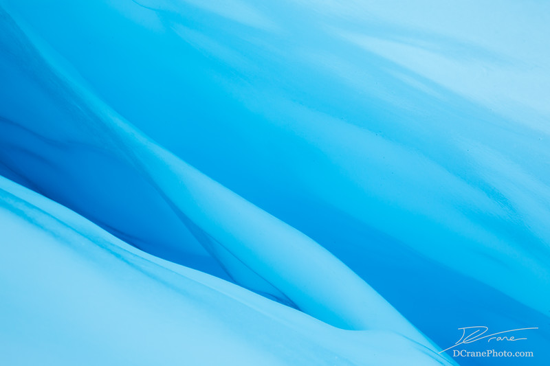 Ice fin inside glacier crevasse