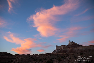 Pink clouds at sunset over Temple Mountain