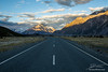 Sunset on the road to Tasman Glacier in the Southern Alps of New Zealand's South Island