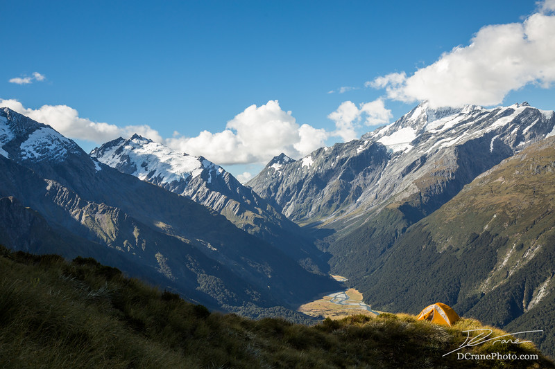 Tent overlooking glacial valley of Mt Aspiring National Park