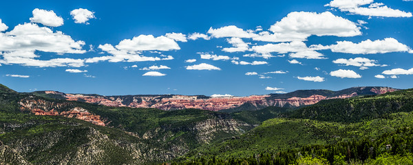 Wide Panorama of red rock formations of Cedar Breaks National Monument