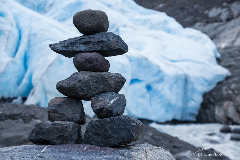 Small person shaped cairn near Bear Glacier, Canada