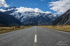 Glaciers hanging over the road to Mt Cook Village
