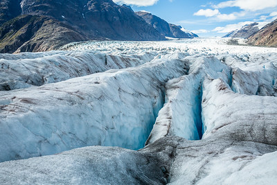Many crevasses covering the surface of the Salmon Glacier near Hyder, Alaska make travel on the remote glacier very dangerous.
