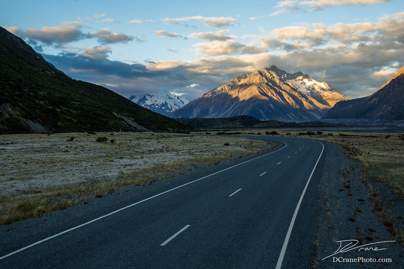 Winding road in Mt Cook National Park, New Zealand