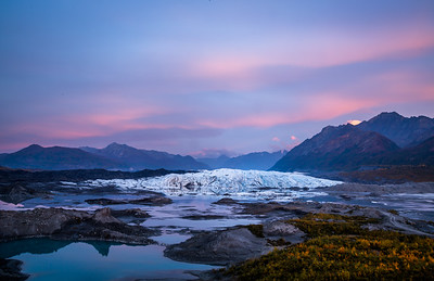 Autumn sunset pink and purple above the Matanuska Glacier in Alaska.