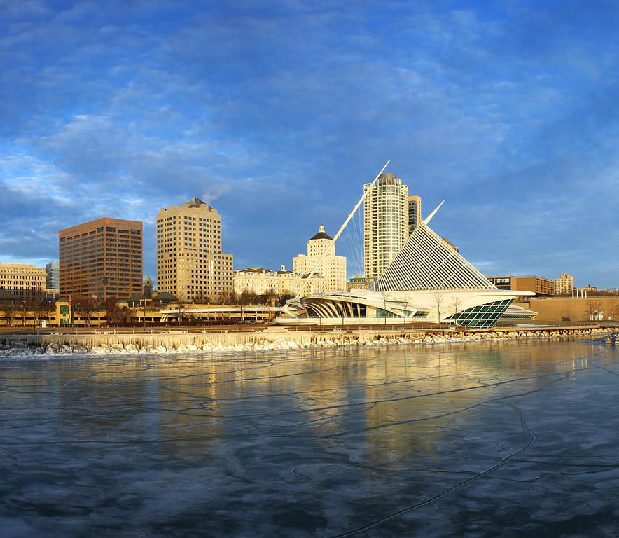 Milwaukee Skyline in Winter - Milwaukee, WI