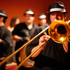 Trombonist playing during a wedding reception, Seville, Spain