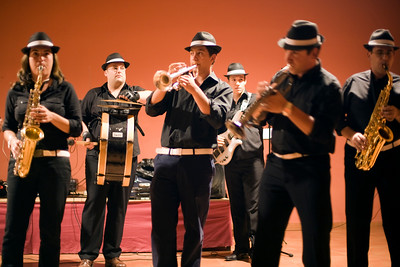 Brass band playing during a wedding reception, Seville, Spain