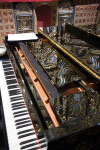 Reflections on a grand piano, San Luis de los Franceses church, Seville, Spain