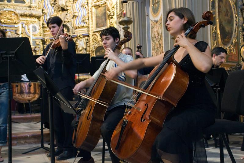 String ensemble performing in San Luis de los Franceses church, Seville, Spain