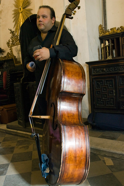 Double bassist holding his instrument, Seville, Spain
