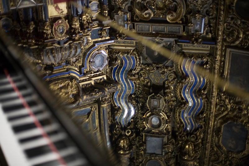 Reflections on a grand piano, San Luis de los Franceses church, Seville, Spain