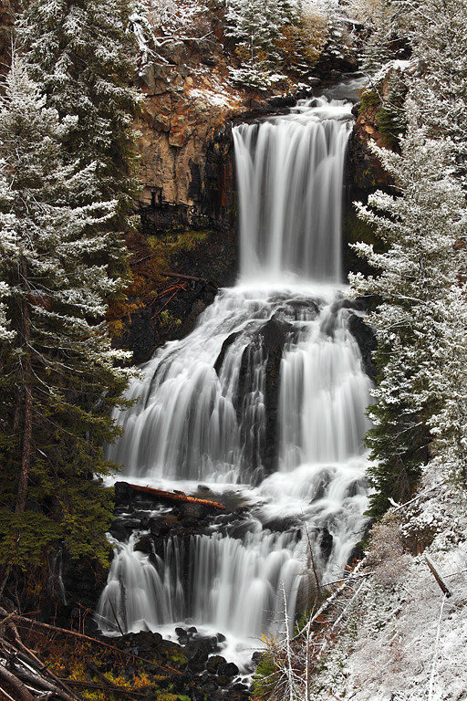 Snowcovered Undine Falls - Yellowstone National Park