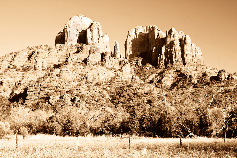 Cathedral Rock near Sedona, Arizona in Sepia