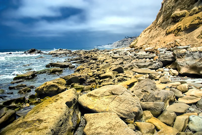 Rocky shoreline along the ocean